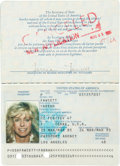 Movie/TV Memorabilia:Autographs and Signed Items, Farrah Fawcett's Signed Passport....