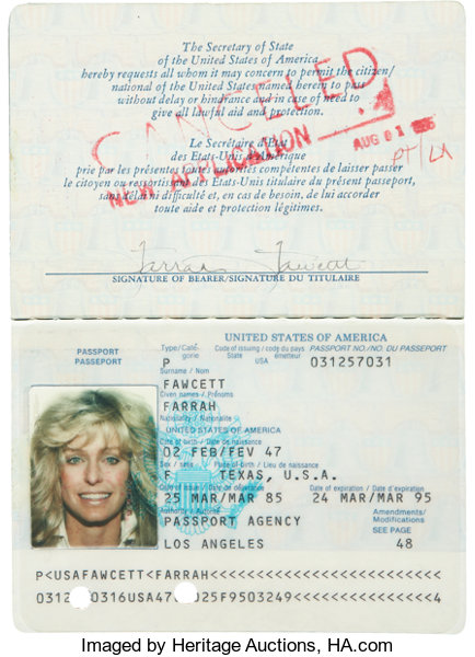 Lot Farrah Heritage Passport Fawcett's Memorabilia Auctions Movie tv 50081 Signed