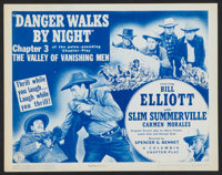 """The Valley of Vanishing Men Lot (Columbia, 1942). Title Lobby Card and Lobby Card (11"""" X 14"""") Chapter 3 -- &qu..."""