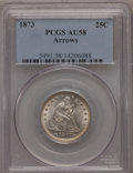 Seated Quarters: , 1873 25C Arrows AU58 PCGS. PCGS Population (32/116). NGC Census:(37/101). Mintage: 1,271,700. Numismedia Wsl. Price for pr...