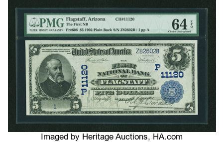 Flagstaff, AZ - $5 1902 Plain Back Fr. 606 The First NB Ch. # (P)11120 ...