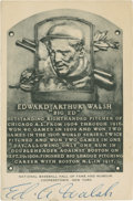 Baseball Collectibles:Others, Ed Walsh Signed Black and White Hall of Fame Plaque Postcard....