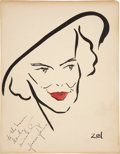 Movie/TV Memorabilia:Original Art, Frances Farmer Signed Sketch from the Brown Derby....