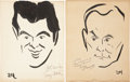 Movie/TV Memorabilia:Autographs and Signed Items, William Demarest and Tony Martin Signed Sketches from the Brown Derby.... (Total: 2 Items)