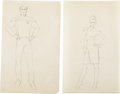 Movie/TV Memorabilia:Original Art, Star Trek: The Next Generation Starfleet Uniform DesignDrawings by William Ware Theiss.... (Total: 2 Items)