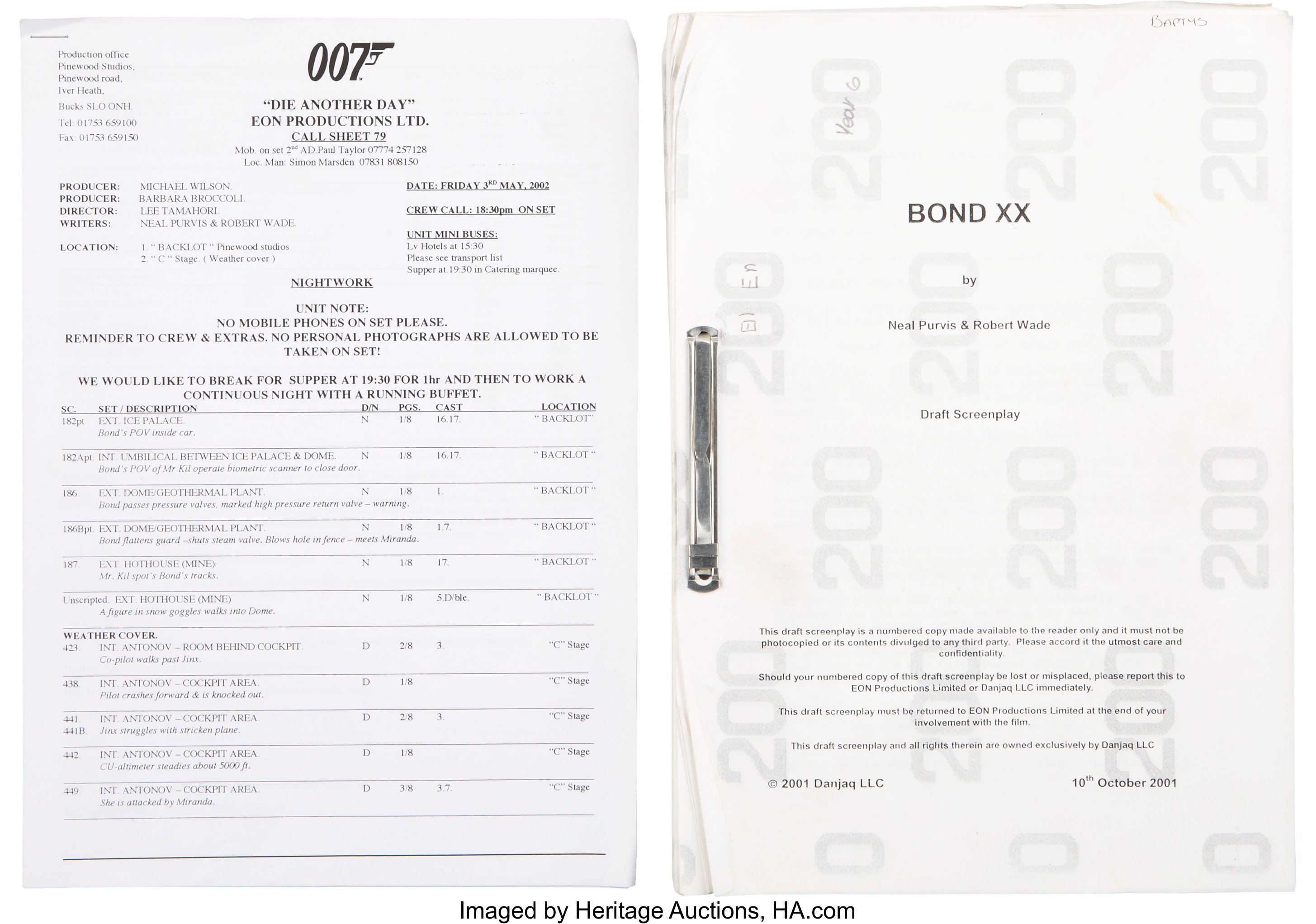 James Bond Die Another Day Numbered Script with Call Sheets