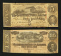 Confederate Notes:1863 Issues, Two CSA Notes.. ... (Total: 2 notes)