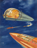 Pulp, Pulp-like, Digests, and Paperback Art, JAMES B. SETTLES (American, 20th Century). Flying Ships,Amazing, back cover, May 1946. Gouache on board. 19 x 15 in..I...