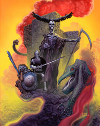 RICHARD CORBEN (American, b. 1940) City of Thieves, paperback cover, 1983 Oil on board 24 x 19 in