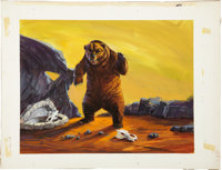 Prehistoric Scenes Cave Bear Aurora Model Kit Box Illustration Original Art (Aurora, 1972)