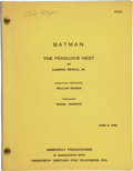 "Movie/TV Memorabilia:Documents, Batman ""The Penguin's Nest"" Script...."