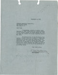 Music Memorabilia:Autographs and Signed Items, Cab Calloway Signed Letter....
