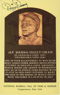 Baseball Collectibles:Others, Dizzy Dean Signed Hall of Fame Plaque Postcard....