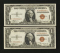 Small Size:World War II Emergency Notes, Fr. 2300 $1 1935A Hawaii Silver Certificates. Two Examples. About Uncirculated and Extremely Fine.. ... (Total: 2 notes)