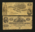 Confederate Notes:Group Lots, T42 $2 1862.. T44 $1 1862.. ... (Total: 2 notes)