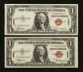 Small Size:World War II Emergency Notes, Fr. 2300 $1 1935A Hawaii Silver Certificates. Two Examples. About Uncirculated.. ... (Total: 2 notes)
