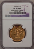 Liberty Eagles: , 1857-S $10 --Improperly Cleaned--NGC Details. AU. NGC Census:(12/18). PCGS Population (12/19). Mintage: 26,000. Numismedia ...