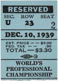 Football Collectibles:Tickets, 1939 NFL Championship Game Packers vs. Giants Ticket Stub....