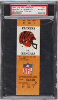 Football Collectibles:Tickets, 1992 Brett Favre First Victory Packers vs. Bengals Full Ticket, PSA Authentic....