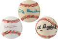 Baseball Collectibles:Balls, Umpire and Front Office Hall of Famers Single Signed Baseballs Lotof 3....