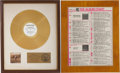 Music Memorabilia:Awards, The Allman Brothers Band Brothers and Sisters RIAA GoldAlbum Award with Album Chart Plaque.... (Total: 2 Items)