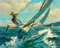 Mainstream Illustration, ARTHUR SARON SARNOFF (American, 1912-2000). Flying Hulls.Oil on canvas. 24 x 30 in.. Signed lower left. ...