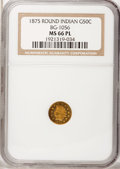California Fractional Gold, 1875 50C Indian Round 50 Cents, BG-1056, High R.4, MS66 ProoflikeNGC....