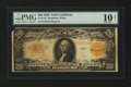 Large Size:Gold Certificates, Fr. 1187 $20 1922 Gold Certificate PMG Very Good 10 Net....