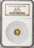 California Fractional Gold, 1872 50C Indian Octagonal 50 Cents, BG-940, R.4, MS65 ProoflikeNGC....