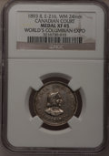 Expositions and Fairs, 1893 World's Columbian Exposition, Canadian Court, IL E-216, XF45NGC. White metal, 24 mm....