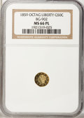 California Fractional Gold, 1859 50C Liberty Octagonal 50 Cents, BG-902, Low R.4, MS66Prooflike NGC....