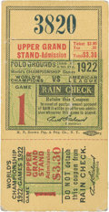 Baseball Collectibles:Tickets, 1922 World Series Game 1 Ticket Stub....