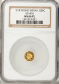 California Fractional Gold, 1874 25C Indian Round 25 Cents, BG-876, Low R.4, MS66 ProoflikeNGC....