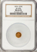California Fractional Gold, 1876 25C Liberty Round 25 Cents, BG-854, Low R.5, MS65 ProoflikeNGC....