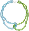 Estate Jewelry:Necklaces, Peridot, Blue Topaz, Diamond, White Gold Necklace. ...