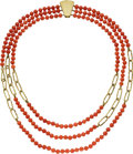 Estate Jewelry:Necklaces, Coral, Gold Necklace, Henry Dunay. ...