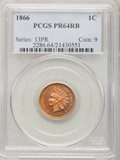 Proof Indian Cents: , 1866 1C PR64 Red and Brown PCGS. PCGS Population (75/50). NGC Census: (16/43). Mintage: 725. Numismedia Wsl. Price for prob...