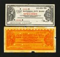 Miscellaneous:Other, First National City Bank $20 Specimen Traveler's Check ExtremelyFine.. ... (Total: 2 items)