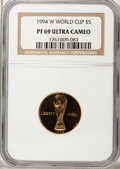 1994-W G$5 World Cup Gold Five Dollar PR69 Ultra Cameo NGC. NGC Census: (9/1). PCGS Population (2790/87). Mintage: 89,61...