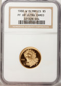 1988-W G$5 Olympic Gold Five Dollar PR69 Ultra Cameo NGC. NGC Census: (77/1). PCGS Population (5538/313). Mintage: 281,0...