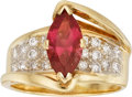 Estate Jewelry:Rings, Pink Tourmaline, Diamond, Gold Ring. ...