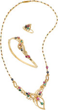 Estate Jewelry:Suites, Ruby, Sapphire, Emerald, Diamond, Gold Jewelry Suite. ... (Total: 3Items)