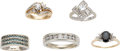 Estate Jewelry:Lots, Lot of Diamond, Colored Diamond, Sapphire, Gold Rings. ... (Total:5 Items)