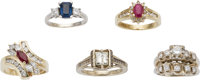 Lot of Diamond, Ruby, Sapphire, Gold Rings