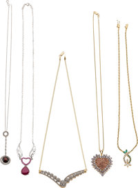 Lot of Multi-Stone, Diamond, Gold Necklaces