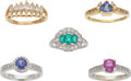 Estate Jewelry:Lots, Lot of Multi-Stone, Diamond, Gold Rings. ... (Total: 5 Items)