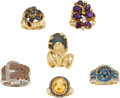 Estate Jewelry:Lots, Lot of Colored Diamond, Diamond, Multi-Stone, Gold Rings. ... (Total: 6 Items)