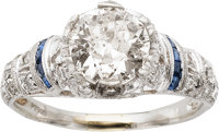 Art Deco Diamond, Sapphire, Platinum Ring
