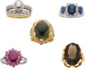 Estate Jewelry:Lots, Lot of Diamond, Multi-Stone, Gold Rings. ... (Total: 5 Items)
