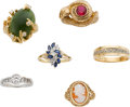 Estate Jewelry:Lots, Lot of Diamond, Multi-Stone, Platinum, Gold Rings. ... (Total: 6 Items)